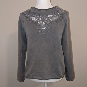 H&M sweater long sleeve gray size small lace